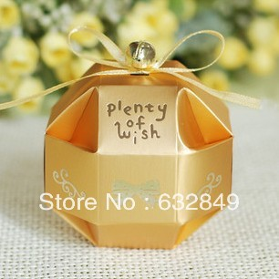 100pcs yellow gold ribbon bell round ball Wedding box favor paper box favour gift candy boxes Best candy box(China (Mainland))