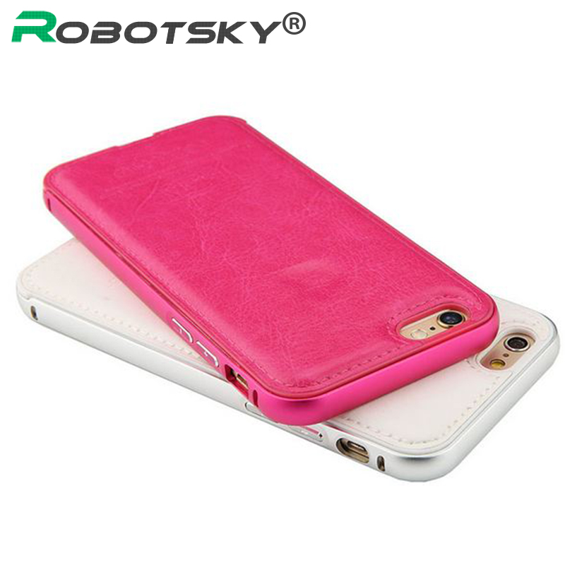 RobotSky Luxury Leather Handtailor 2 in 1 phone cover cases for iphone 5 5s 6 6S / 6 6S Plus PT1855(China (Mainland))
