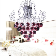 Red Purple Modern LED Crystal Ceiling Lights Fixture For Bedroom Surface Mounted Luster Cristal Restaurant Kitchen Foyer Lamp(China (Mainland))