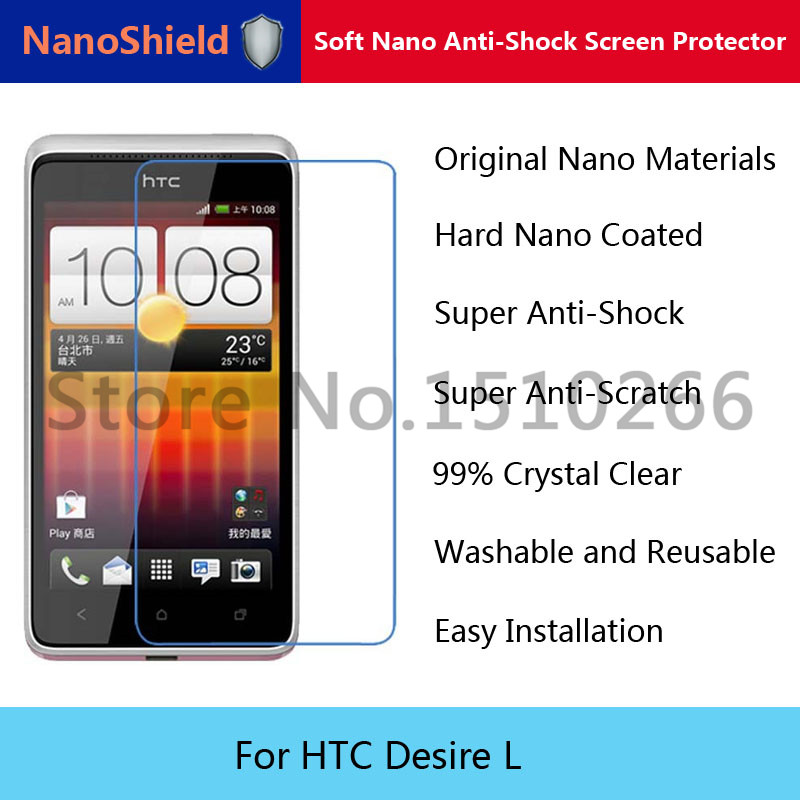 NanoShield Soft Nano Explosion-proof Anti-Shock Screen Protector Protective Film For HTC Desire L With Retail Packaging