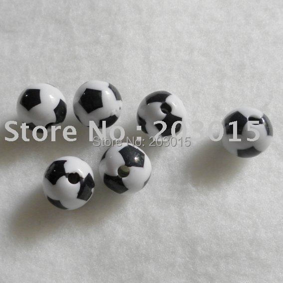(wholesale) Free shipping 1000pcs 12mm white with black dot Plastic Football Beads, plastic soccer beads