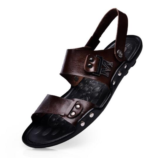 2016 NEW Summer Flip Flops Men Sandals Genuine Leather brand Casual Sport Sandals Slippers 0.9/2(China (Mainland))