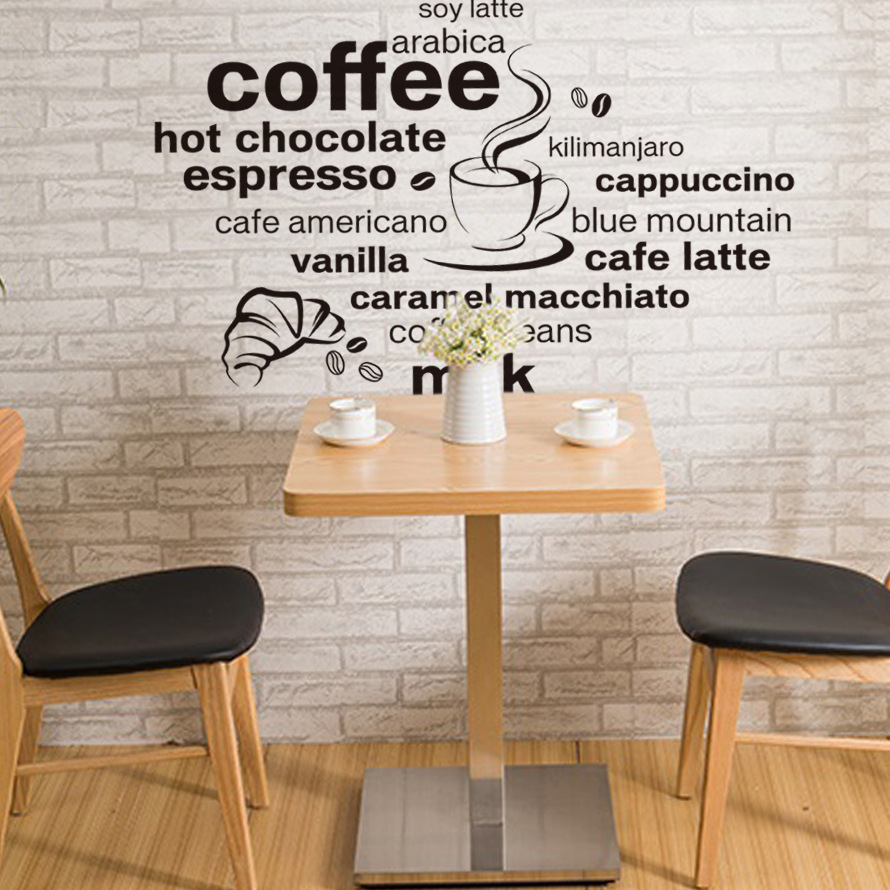 creative wall stick diy contracted letters black coffee coffee shop decoration adhesive wall stickers