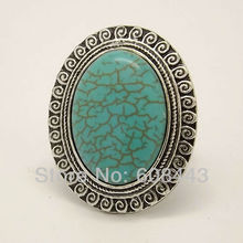 RR102 European Royal Big Oval TURQUOISE Tibetan Silver vintage retro Exaggerated RING jewelry(China (Mainland))