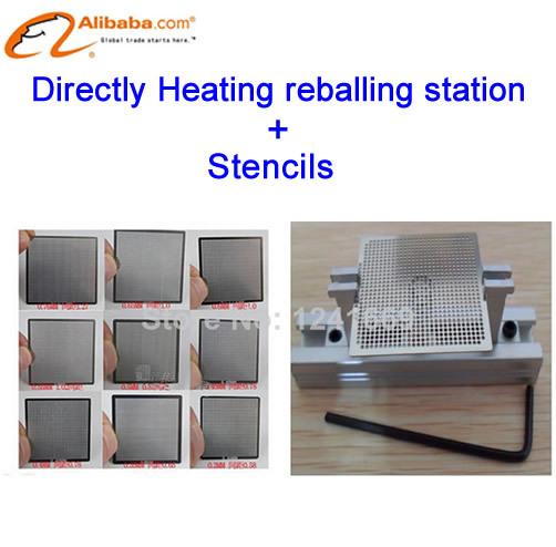 Free shipping!! 10pcs/set BGA Universal Stencil Directly Heating Stencils+BGA reballing station(China (Mainland))