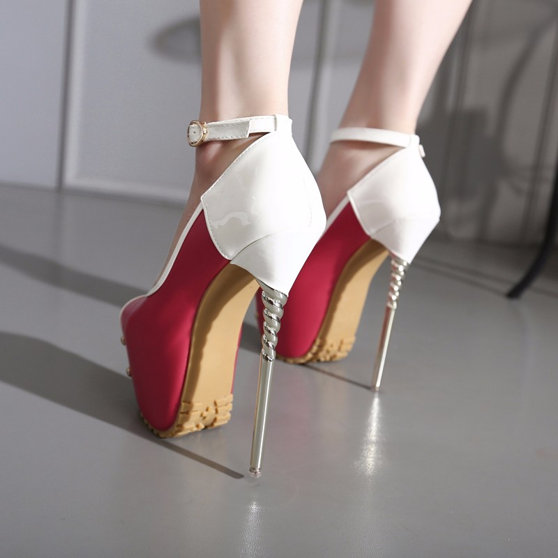 ซื้อ ที่มีคุณภาพสูง2016รองเท้าผู้หญิงเซ็กซี่ผสมสีP Eep Toeปากตื้น16เซนติเมตรสูงส้นเท้าบางฤดูร้อนใหม่ไนท์คลับพรรคปั๊ม