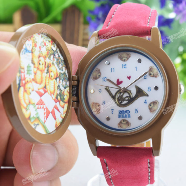 SY-35291 2015 rose kids Bear Model Promotion Women Girls Fashion Jelly Clamshell Watches,Brand Quality Lady Quartz Wristwatches(China (Mainland))