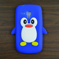 Cute Cartoon Penguin Silicone Soft Case for Samsung S7562 Galaxy S Duos S7560 GT-S7562 Phone Back Cover Case + free gift
