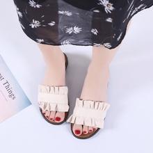2019 Estate Nuove Donne di Modo Flock Piatto Pantofole Signore Casual Elegante Increspature Al di Fuori Presentazioni aziende produttrici giochi Formato 35-40 6O0162(China)