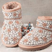 Forme a mujeres la nieve zapatos Winter BlingBling Rhinestone botines hechos a mano chica de piel de oveja de piel botas de nieve con perla de cuentas(China (Mainland))
