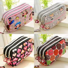 Three Korean printing short zipper wallet fashion mobile phone bag with waterproof lifting rope household Wallet #DJ0306(China (Mainland))