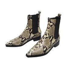 ALLBITEFO snake skin lederen dikke hak enkellaarsjes laarzen voor vrouwen winter sneeuw party vrouwen laarzen martin laarzen meisjes schoenen(China)