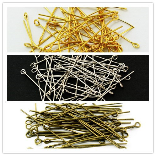 Free Shipping 40MM Plated Metal Silver Gold Bronze Plated Eye Pins 300PCS Jewelry Findings FZA003(China (Mainland))