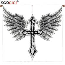 Window Curtains Treatments 2 PanelsGothic Decor Collection Heraldic Wing And Cross Christ Christian