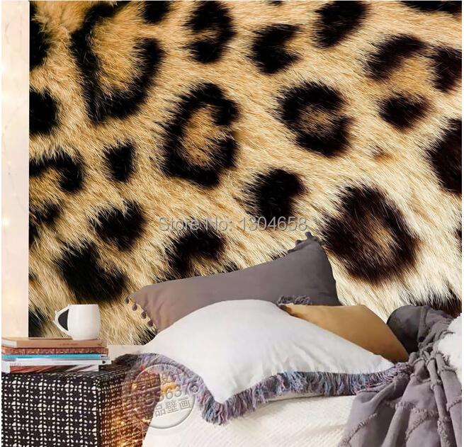 Luipaard behang koop goedkope luipaard behang loten van for Fur wallpaper room