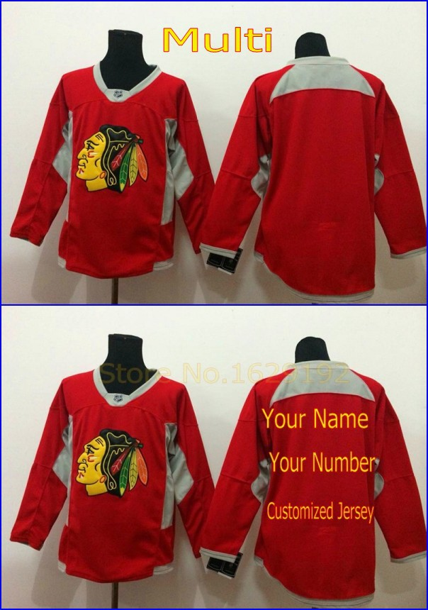 New nhl Men's Custom Chicago Blackhawks Blank Personalized Your Name Number Practice Authentic Alternate Red Hockey Jersey Cheap(China (Mainland))