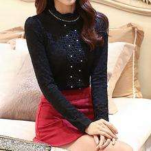 Women New 2015 Fashion Blouse Plus Size Stand Collar Beading Long Sleeve Slim Thick Winter Blouse S-3XL Free&Drop Shipping