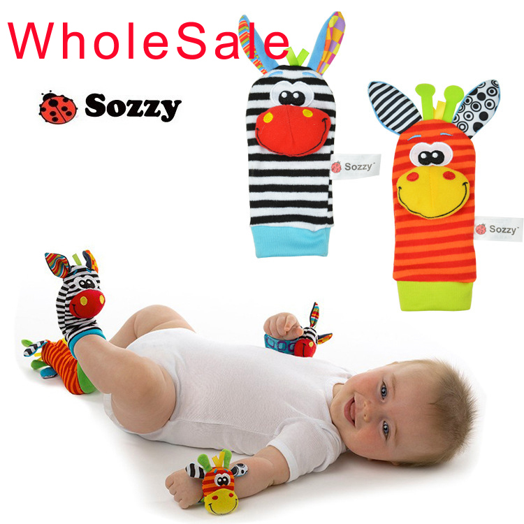 4pcs/lot SOZZY Baby Toy Baby Rattles Toys Animal Socks Wrist Strap With Rattle (2Pcs Foot Socks+2Pcs Bug Wrist Strap)(China (Mainland))