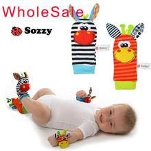Sozzy bebê meias pulso chocalhos brinquedos com chocalho do bebê brinquedo do bebê meias do pé pulseira