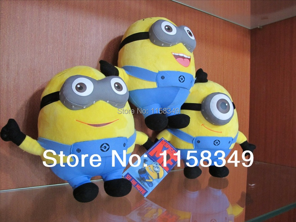 Free Shipping 1pc Hot Sale Despicable Me 10'' Movie Toys Plush Toys Doll 3D Eye Stuffed Animals Doll(China (Mainland))
