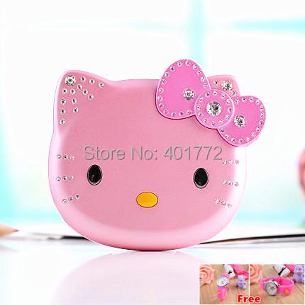 Cute Mini Hello Kitty Girl Phone K688+ Quad Band Dual SIM Flip Cartoon Mobile Phone Unlocked Kids Children Cell Phone(China (Mainland))