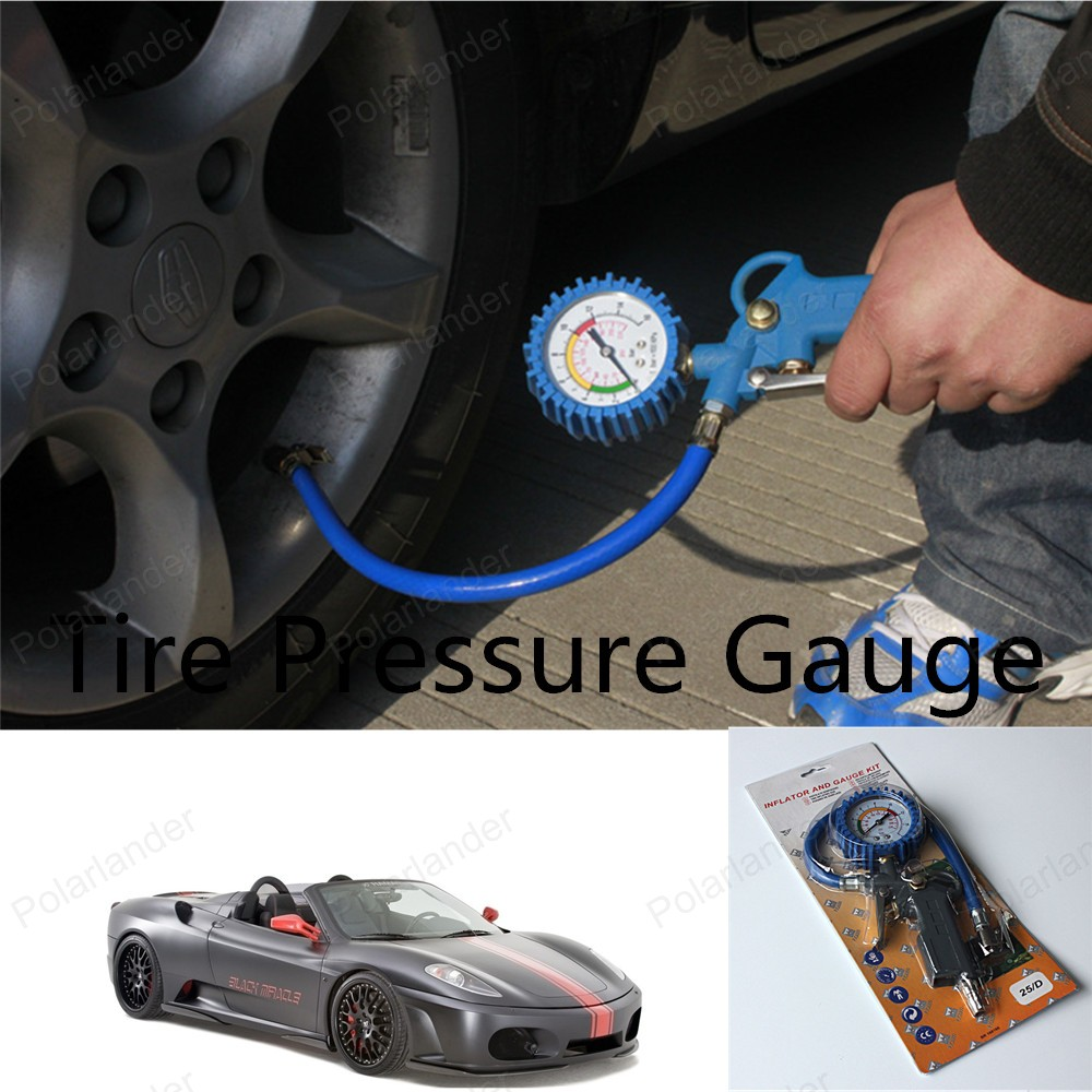 Auto Air Inflator Gun Flexible Car Motorcycle Lock On Air Pump Dial Pistol Hose Pressure Guage Tire Inflator(China (Mainland))