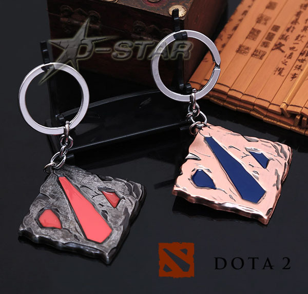 DOTA 2 Logo Defense Ancients Style Metal Pendant Keychains Key Chain Ring Keyring Retail Pack - D-STAR anime store
