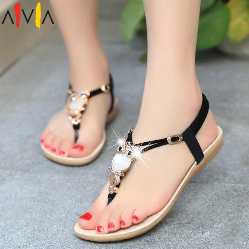 women sandals 2015 new summer female Owl rhinestone comfortable flats flip fashion gladiator sandals black white shoes(China (Mainland))