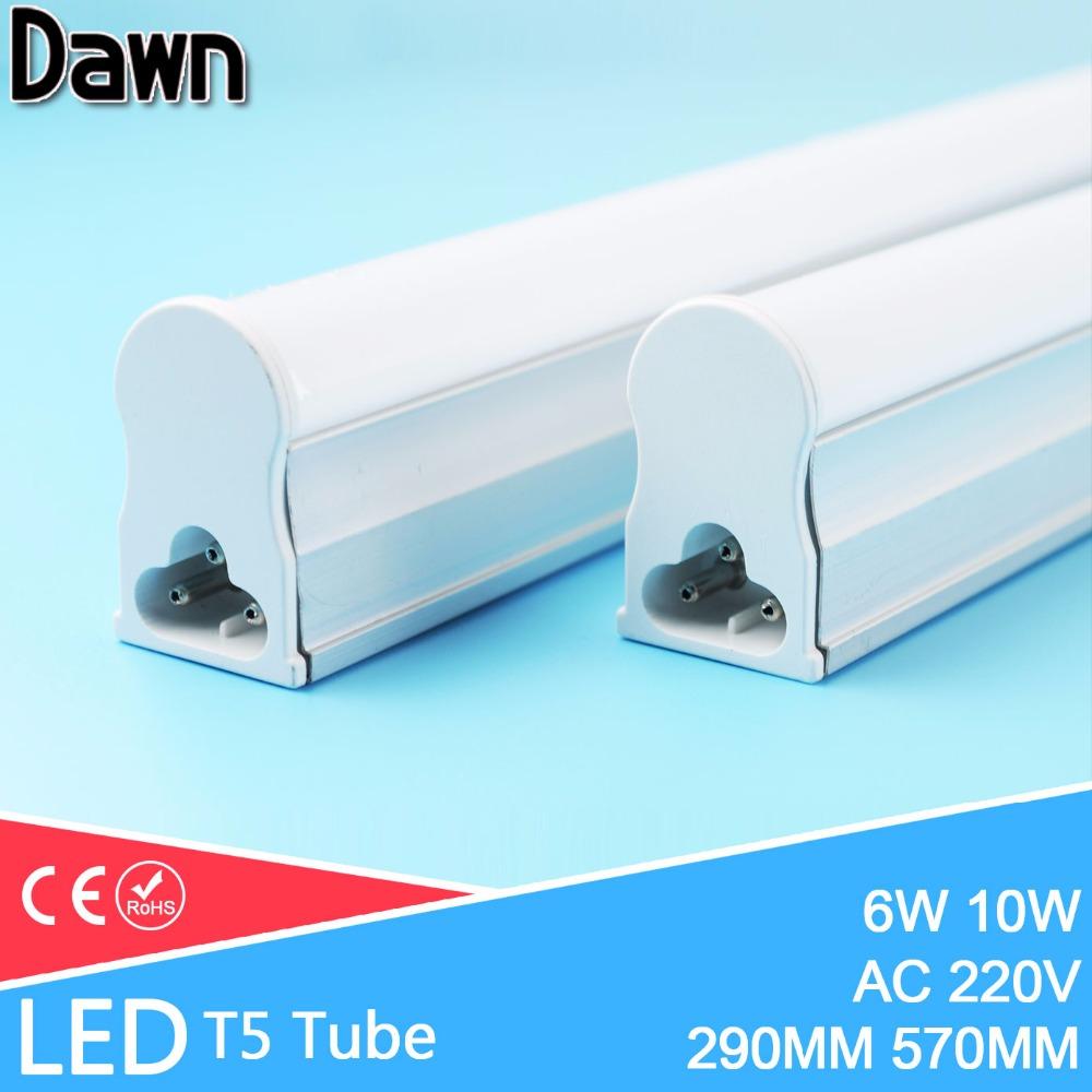 LED Tube T5 Light 30CM 60CM 220V~240V LED Fluorescent Tube LED T5 Tube Lamps 6W 10W Cold White Light Lampara Ampoule PVC Plastic(China (Mainland))
