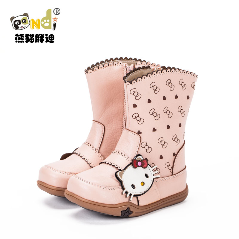 2013 winter autumn female child boots knee-high fashion shoes cute bow princess KT cat
