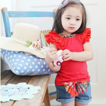 2016 2 Colors Girls Kids Ruffled Sleeves T-shirt Bow-knot Jeans Pants 1-6Y 2 PCS Set Outfits
