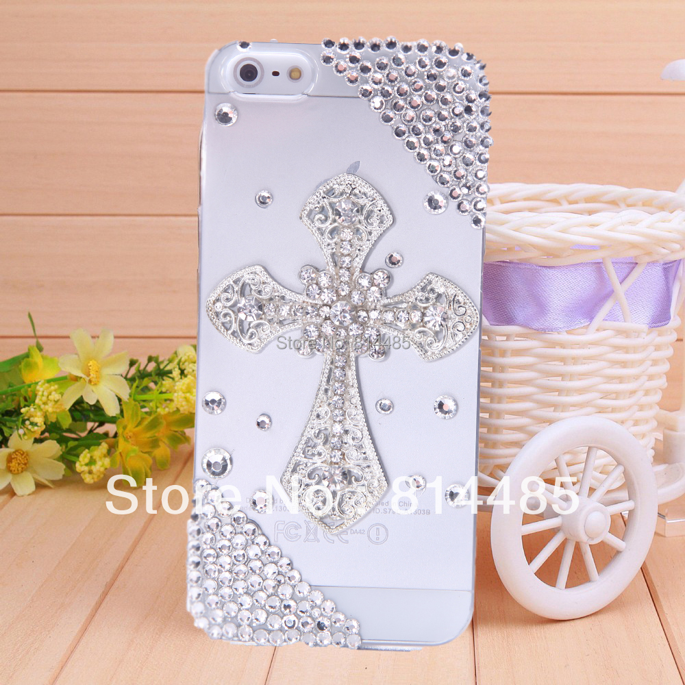 1pc free shipping diamond cross Case For Iphone5 5s mobile phone case(China (Mainland))