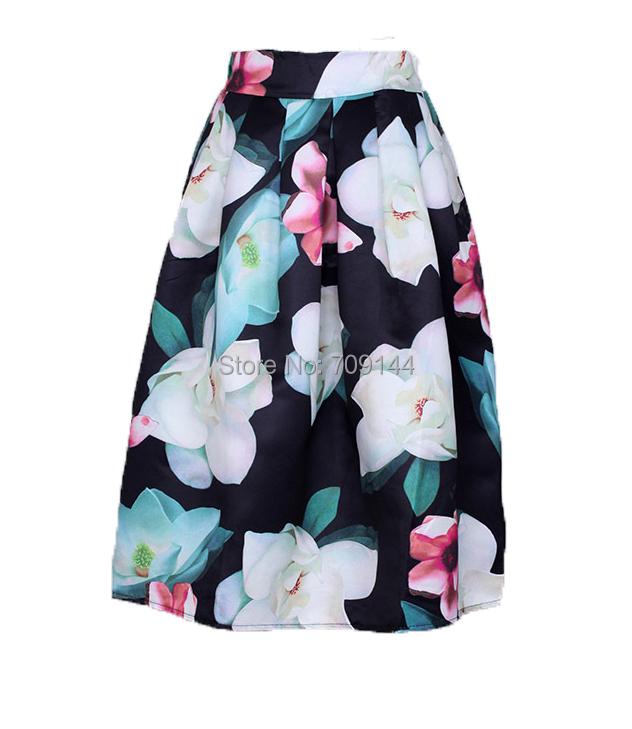 2015 Summer Fashion Elegant Vintage Fragrance Floral Printed High Waist Pleated Long Umbrella Skirt For Women(China (Mainland))