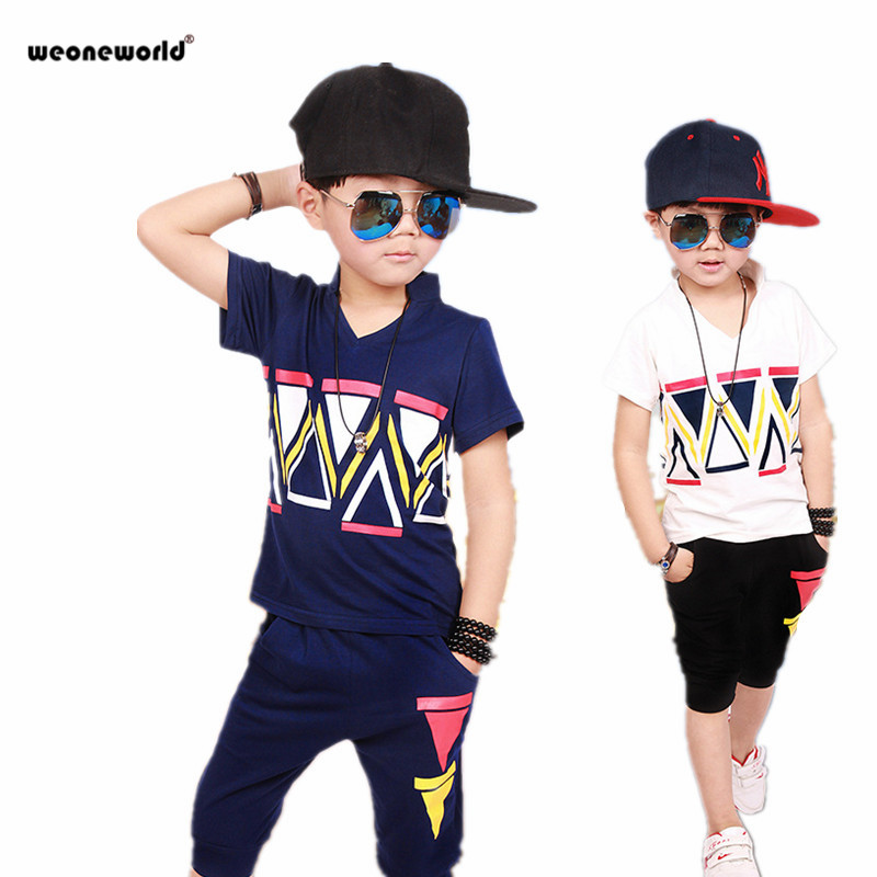 WEONEWORLD Baby Boys Set Summer Cotton Children Clothes Kids Blue White T shirt+ Short Pants 2pcs Boys Suit Kids Clothing(China (Mainland))