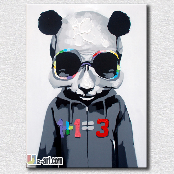 Black oil painting cool panda wall arts for kids bedroom wall decoration picture high quality gift for friends(China (Mainland))