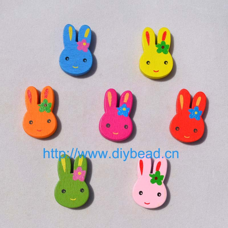 100 pieces/lot DIY Jewelry Accessory,16MM Mix Color Wooden beads,Cartoon Rabbit Children handcraft Department(China (Mainland))