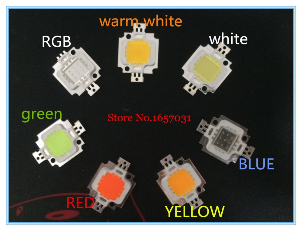 Free shipping 100pcs 10W LED chip Integrated High power 10w LED Beads RGB White Warm white red green blue yellow 20*48mil Chips(China (Mainland))