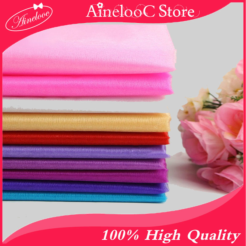 all 75cm Wide cheap Sheer Crystal polyester tissu voile Organza Tulle Roll Fabrics Party Wedding Decoration accessories(China (Mainland))
