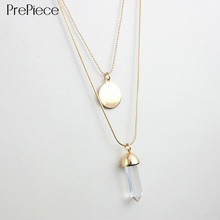 PrePiece women double layer alloy long necklace pendant with disc glass plating gold brand designer 2015 summer style PN0035(China (Mainland))