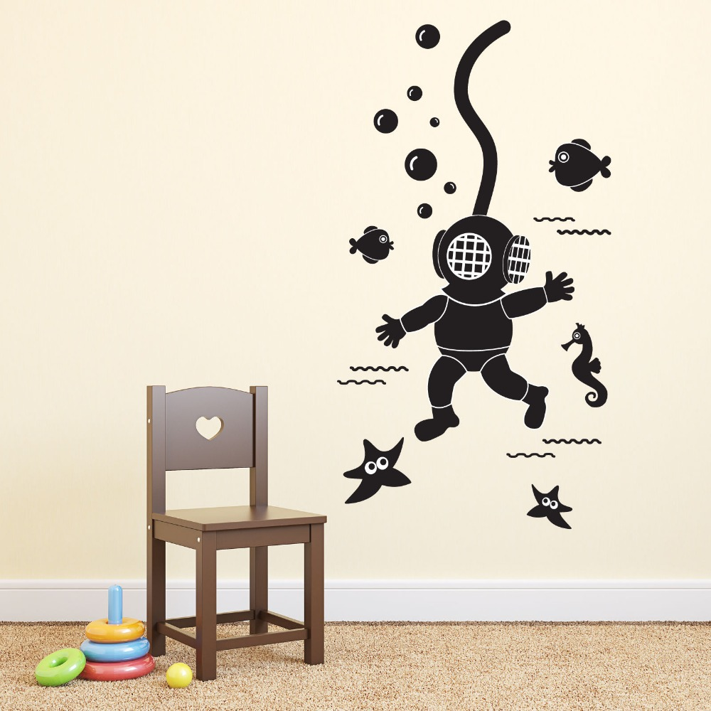 Deep Sea Scuba Diver Wall Sticker Removable DIY Wall Decals Child's Bedroom Decal Vinyl Decoration(China (Mainland))