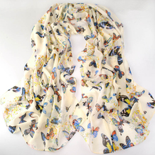 new fashion style butterfly Scarves women's scarf long shawl spring silk pashmina chiffon infinity scarf(China (Mainland))