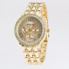Hot Sale GENEVA Alloy Gold Plated Bright Crystal Casual Quartz Watch Fashion Brand Luxury Women Rhinestone Watches Relojes Clcok