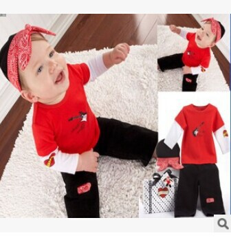 2014 new autumn models boy child t-shirt long-sleeved track suit piece 100% cotton 2--6 years old Children Set(China (Mainland))