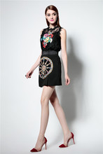 Women dress runway skirt Italy D&C brand style summer robe thin Heavy embroidered lace skirt suit family matching outfits maxi