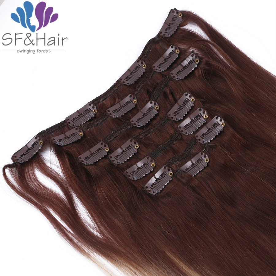 Hot Clip In Human Hair Extensions 7pcs/set Clip ins Remy Brazilian Clip In Extensions Ombre Clip In Hair Extensions Human Hair