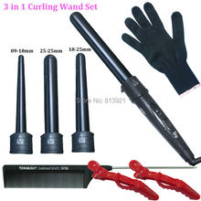 3 Part Hair Curler Set Clipless Curling Iron The Wand Interchangeable 3 in 1 Piece Clipless Tourmaline Series Curling Iron Set(China (Mainland))