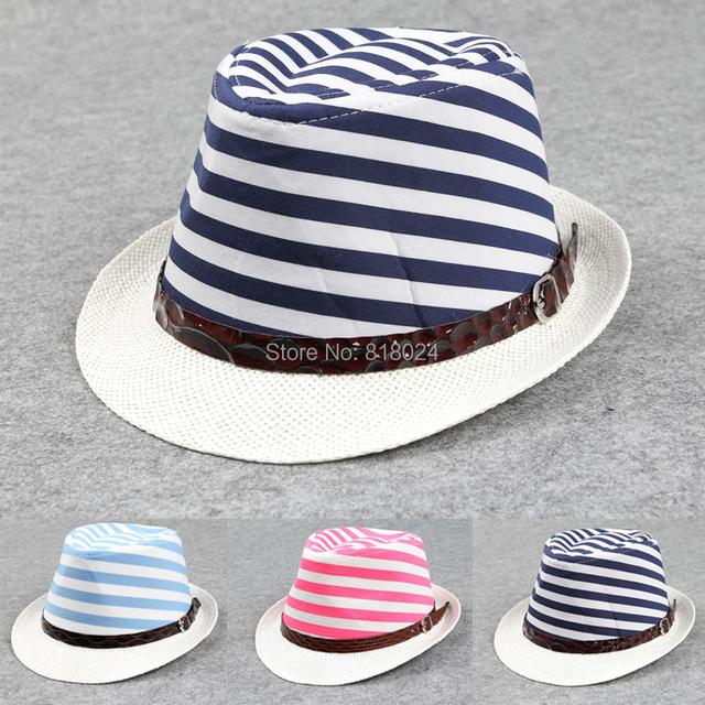 10 шт. / lot полоска дети Chic джаз малыша мальчик девочка кепка шляпы фотография мягкая фетровая шляпа хлопок верхний