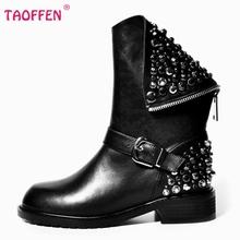 Botas de Cuero Genuinas verdaderas Remache Tacones Cuadrados Otoño Invierno Medio botas Sexy Martin Botas de Piel de Nieve Zapatos de Mujer de Tamaño 34-39 N00105(China (Mainland))