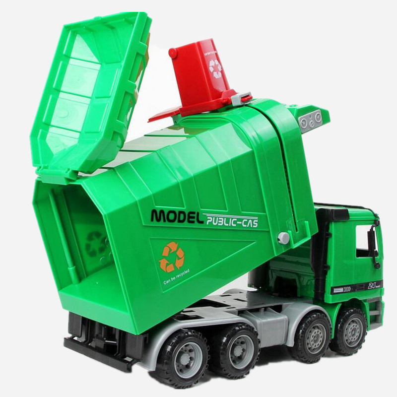 Big Size Jumbo Children's Large Man Side Loading Garbage Truck Can Be Lifted With 3 Rubbish Bin Toy Car Wholesale C0A301(China (Mainland))