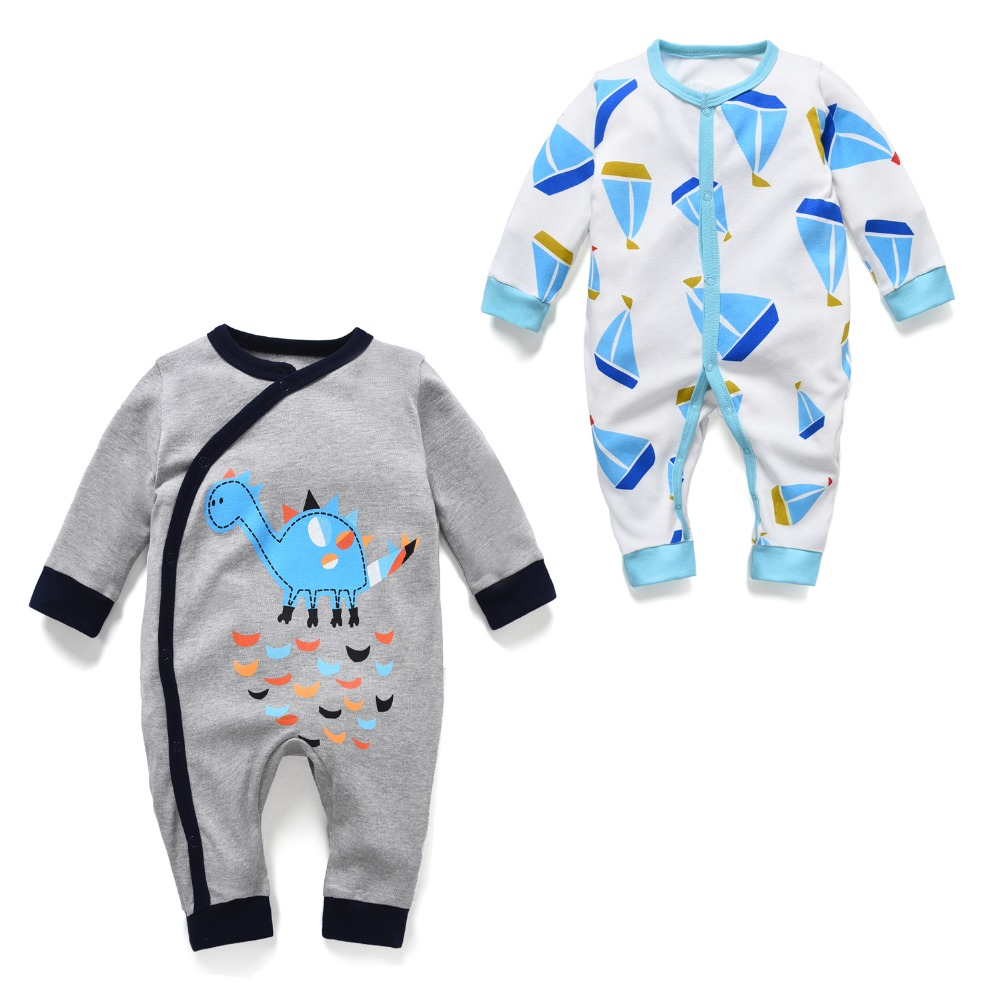 newborn baby boy rompers for girl long sleeve pajamas spring summer dinosaur jumpsuit toddler overalls unisex one piece(China (Mainland))